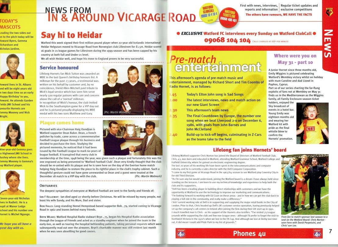 15th January 2000-Premier League, Watford 2 Liverpool 3